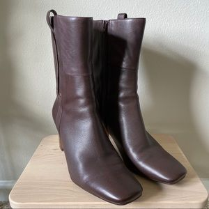 [Nine West] Brown Leather Heeled Booties